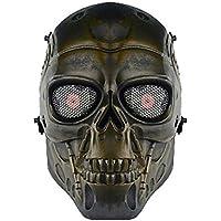 genenric - Máscara de Esqueleto de Calavera para Airsoft Game CS Paintball táctico Militar Halloween Disfraz de Fiesta de Bronce