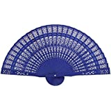 ULTNICE Hand Held Bamboo Silk Folding Fans Chinese Carved Wood Fan Portable Hand Fan Dancing Props Church Wedding Gift Party Favors (Blue)