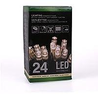 Home&Style Lichterkette 24 LED's, Länge 1,8 m, 50 cm Zuleitungskabel 3x AA Batterie für den Außenbereich mit Timer 6H/18H und 8-Funktionsregler mit Memory im Farbkarton, warmweiß 007415