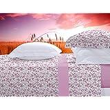 Juego de cama franela 100% algodón Manterol 455 color rosa cama de 135