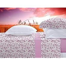 Juego de cama franela 100% algodón Manterol 455 color rosa cama de 150