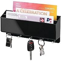 mDesign Colgador de llaves con doble bandeja para cartas en plástico negro - Estante de pared para el recibidor con cuelga llaves y organizador de cartas - Útil como soporte para teléfono móvil