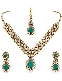 [Sponsored]Rich Lady Moddish Gold Finishing Pota Green Stone & Kundan Necklace Set With Maang Tikka