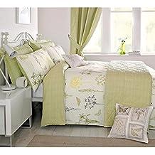 Botanical Floral - Funda para edredón, diseño vintage de mariposas, color verde, crema y amarillo, algodón poliéster, verde, crema y amarillo, matrimonio