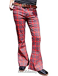 Mens Bell Bottoms Flares Tartan Red Glam Rock Trousers Pants Retro