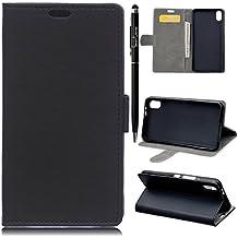 Funda para BQ Aquaris X5 Plus, SMART LEGEND BQ X5 Plus Funda de PU Cuero Flip Standing Leather Wallet Case Cover Suave Cáscara Funda con Ranura de Tarjeta Cierre Magnético y función de soporte + 1 X Stylus Pen - Diseño de Negro