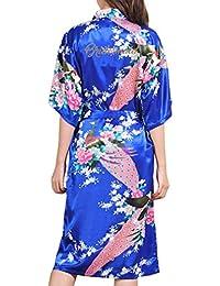 Juleya Boda Nueva Dama de Honor Túnica Satén Rayón Bata de Baño Camisón para Mujeres Kimono