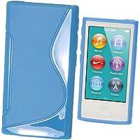 igadgitz S Line Azul Case TPU Gel Funda Cover Carcasa para Apple iPod Nano 7ª Gen 7G 16GB + Protector de pantalla