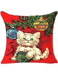 Clearance. hmlai decorativo fundas de almohada de Navidad lino cuadrado manta lino funda de almohada decorativa cojín almohada cubierta, 45cmx45cm, do