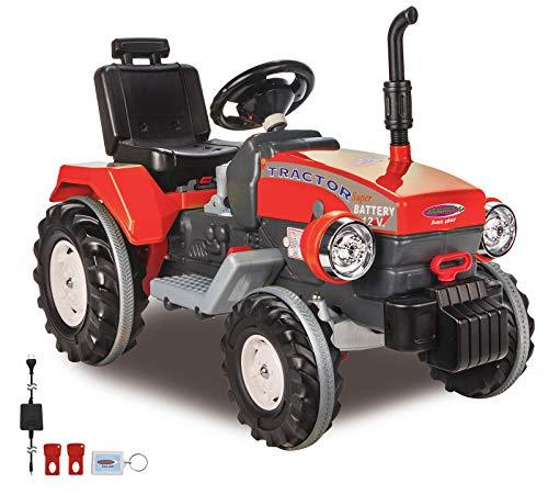 *Jamara 460319 – Ride-on Traktor Power Drag rot 12V – 2-Gang, Gaspedal, Bremse, 2 leistungsstarke Antriebsmotoren, leistungsstarker Akku für lange Fahrzeit, Speed-Modus, Sound, verstellbarer Sitz*