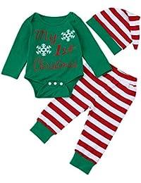 K-youth Ropa Bebe Nino Recien Nacido Otoño Invierno Navidad 2018 Ofertas Infantil Blusas Bebe Niña Manga Larga Camisetas Bebé Mono Mameluco Tops + Rayas Pantalones + Sombrero