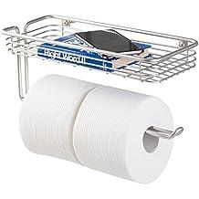 mDesign – Práctico portarrollos para baño con bandeja – Soporte para papel higienico para dos rollos – Moderno portarrollos de papel higiénico con diseño elegante – Color: plateado