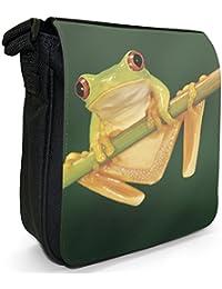 Red Eye Tree Frog Small Black Canvas Shoulder Bag / Handbag