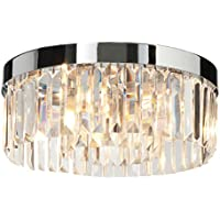 Decorative 3 Light G9 Bathroom Ceiling Light in a Chrome Finish with White Frosted Glass Shades Zone 2 Rated IP44