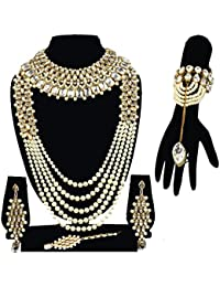 Traditional Jewellery Kundan Pearl Necklace Set And Choker Set With Earrings And Bracelet For Women
