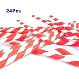 Sonline Paquete 25 x Pajita Paja Papel a Rayas Rojo para Beber Bar Fiesta