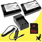 Two Halcyon 2200 MAH Lithium Ion Replacement Battery And Charger Kit + 16GB SDHC Class 10 Memory Card For Sony Alpha SLT-A33 14.2 MP Digital SLR Camera And Sony NP-FW50