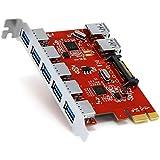 CSL - 7 Port USB 3.0 PCI Express (PCIe) Controller | 5 x extern (Ports) / 2 x intern | 15 pin SATA-Stromanschluss | Schnittstellenkarte USB 3.0 Super Speed | USB Hub intern