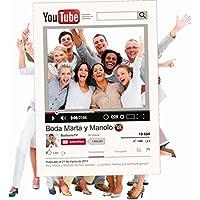 Marco photocall personalizado YouTube. Regalo original para bodas cumpleaños. Impreso en cartón de 4mm.