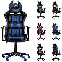Diablo X-One Horn Gaming Silla de juego, Silla de oficina en óptica de carreras, Tapicería de cuero sintético, con apoyabrazos ajustables, selección de color (negro/azul)