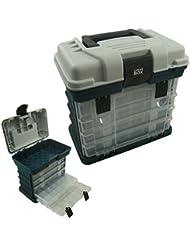 Estuche de 4 ajustable con compartimento de almacenaje, caja para aparejos de pesca, caja