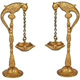 Artvarko Pair Of Bird Parrot Diya Oil Lamp Stand Brass Hindu Religious Puja Fengshui For Home Temple