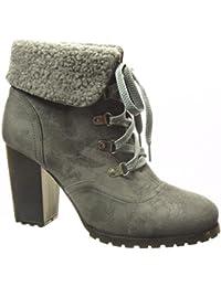 7e457b5642b7 Angkorly - Chaussure Mode Bottine Rangers Femme Fourrure Talon Haut Bloc 9  CM - Intérieur Fourrée