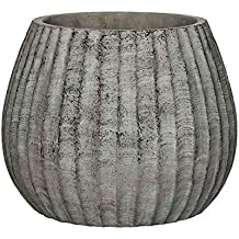 MICA Decorations Macetero Zane Redondo 24,5 x 30 cm de diámetro, Cemento,