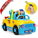 Early Education Kids Toys Tool Truck, Baztoy Take Apart Build Your Own Toy for Boys Girls with Various Tools Power Electric Drill Music Lights Bump and Go Toddler Baby Children Toys Funny Gifts