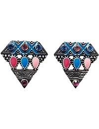 Evogirl Earrings Diamond Shaped Oxidized Sky Blue & Pink Studded Stones, Small, For Women