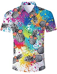 35c306d9fbb4 Hawaiian Shirt Mens Pineapple Shirts Short Sleeve Beach Party Shirt Holiday  Fancy Dress Funny Beach Shirts
