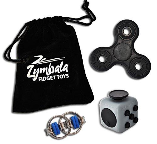 #3er Set Zymbala Fidget-Gadgets – Spinner, Cube & Chain im Set – Die Trendgadgets 2017 inklusive Aufbewahrungsbeutel#