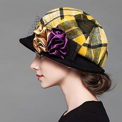 FQG*El otoño e invierno sombrero femenino fashion round top hat colchas de lana el paño libre de elegante sombrero de seda , amarillo
