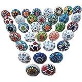 Ozdobne gałki okrągłe płaskie kształty ręcznie malowane ceramiczne gałka szafa wyciągana wiele 20 sztuk