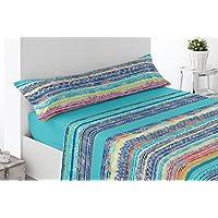 Juego de sábana poliéster/algodón Modelo Escullar, Azul. Juego de 3 piezas para cama de 150.