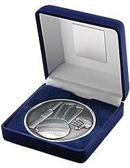 JR6-TY141B terciopelo azul caja + Medal Cricket Trophy–Plata envejecida 4in incluye grabado gratis (hasta 30caracteres)