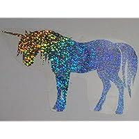Bügelbild, Motiv: Einhorn, Farbe: silber-regenbogen, Größe: 21x12,5cm, heißsiegelfähige Flexfolie