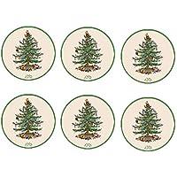 HUGS IDEA Juego de 6 posavasos de árbol de Navidad para hogar o cocina, absorción