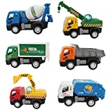 SAJANI Kid's ABS Plastic Construction Vehicle Set Of Dumper, JCB, Cement Mixer, Transportruck, GarbageTruck, Container And Crain - Pack Of 6 Pieces