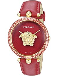 Versace Women's 'PALAZZO EMPIRE' Swiss Quartz Gold-Tone and Leather Casual Watch, Color:Red (Model: VCO120017)
