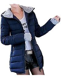 KINDOYO Mujer Invierno Larga Abrigo de Cremallera Acolchado Chaqueta Largo  con Capucha 1dcd365925f
