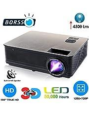 BORSSO LED Projector HDMI USB VGA AV, HD