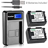 Kastar Camera Batteries (Pack Of 2) With Slim LCD USB Charger For Canon BP-808 Canon VIXIA HF G10 G20 M30 M31 M32 M40 M41 M300 M400 S10 S11 S20 S21 S30 S100 S200 HF10 HF11 HF20 HF21 HF100 HF200 HG20 HG21 HG30 XA10