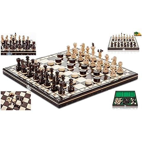 Las PERLAS DAMAS - 35cm/14 en madera juego de ajedrez artesanal con damas
