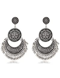 Shining Diva Fashion High Quality Combo Oxidised Silver Gold Tribal Stylish Earrings For Women and Girls