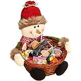 Navidad Candy de almacenamiento, keepwin Xmas decoración, Santa/muñeco de nieve/de alce cesta de regalo, bambú, muñeco de nieve, 22*22CM
