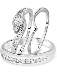 Silvernshine 3/4 CT Princess Cut Sim.Diamond 14K White Gold Fn His & Her Wedding Trio Ring Set