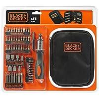 BLACK+DECKER A7104-XJ - Kit para atornillar 56 piezas. Con destornillador tipo carraca. Nylon