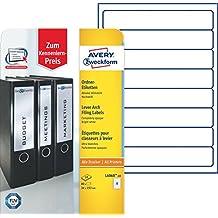 AVERY Zweckform L6060-10 Ordnerrücken Etiketten (A4, 80 Rückenschilder, schmal/kurz, selbstklebend, blickdicht, 34 x 192 mm, 10 Blatt) weiß