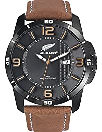 All Blacks - 680235 - Montre Homme - Quartz Analogique - Cadran Noir - Bracelet Cuir Marron